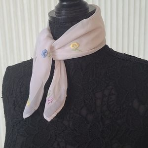 Embroidered Flowers Square Scarf